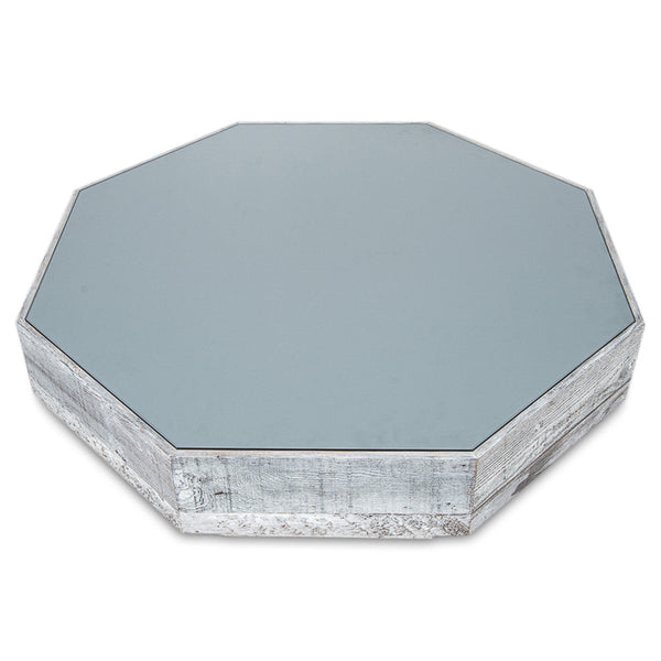 Recycled Wood/Grey Glass Octagon Coffee Table