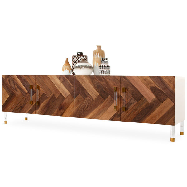 Corfu 4 Door Credenza in Oiled Walnut - ModShop1.com