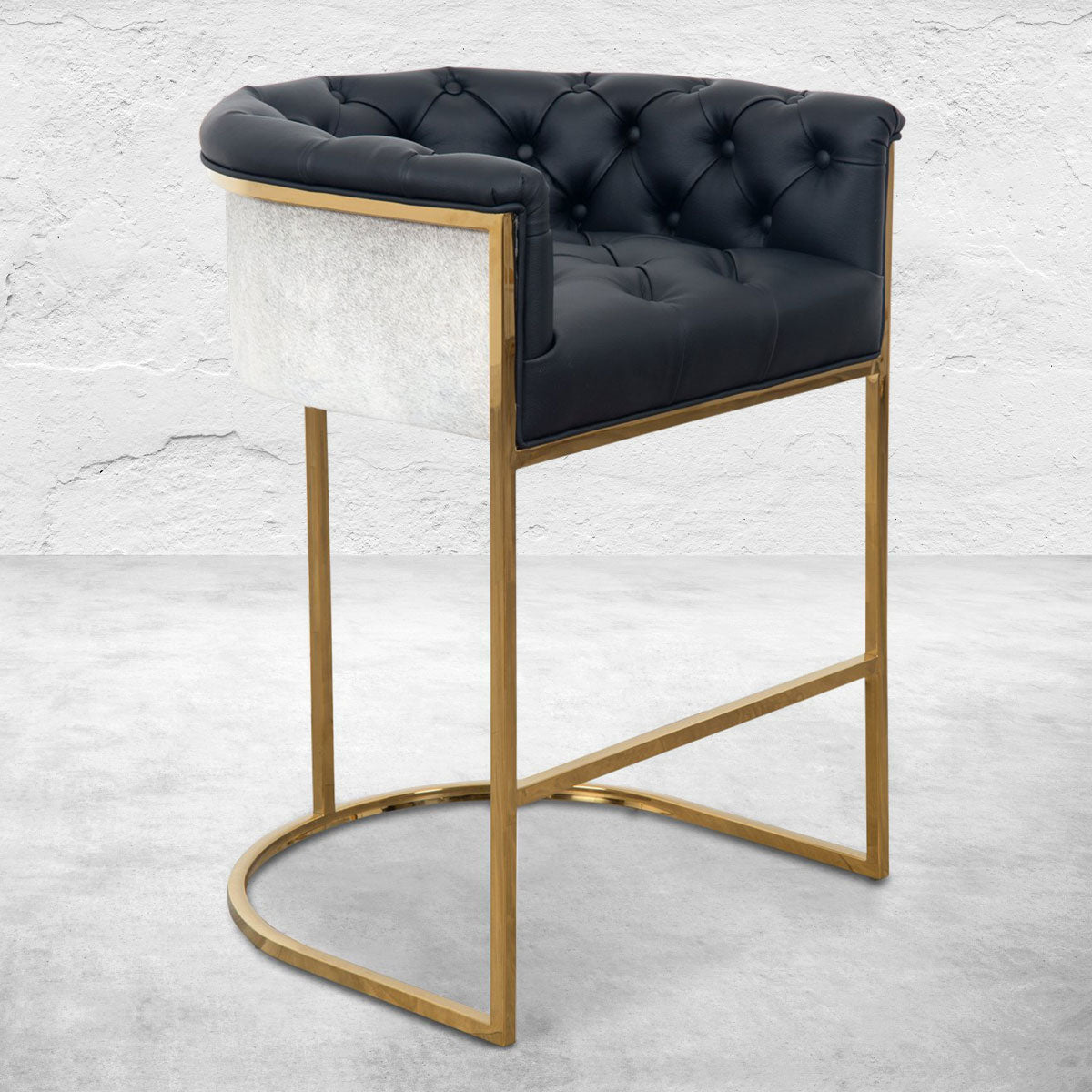 Corfu Bar and Counter Stool in Faux Leather and Cowhide