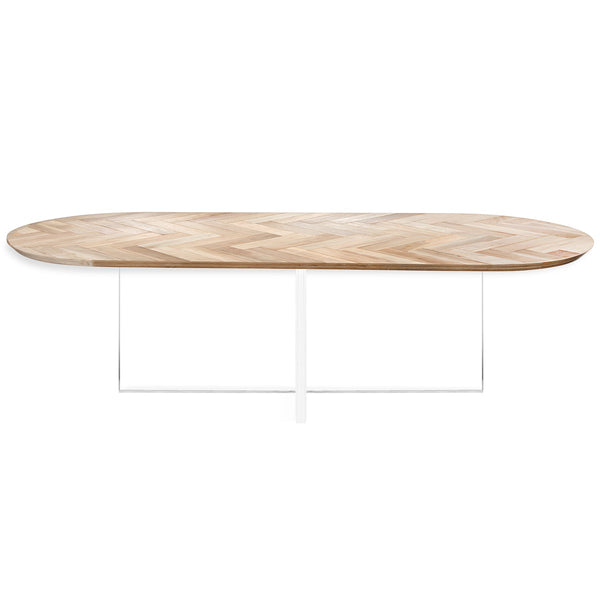 Corfu Racetrack with Cross Plinth Legs Dining Table