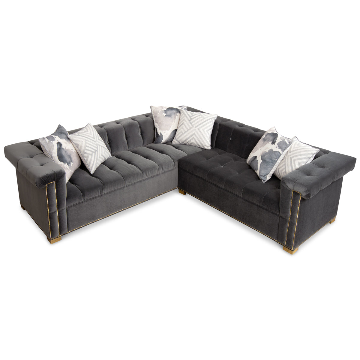 Dean Martin Sectional in Dark Grey Velvet - ModShop1.com