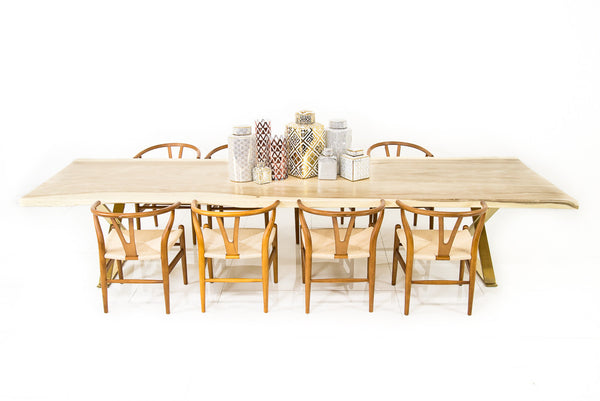12' Bleached Slab Dining table w/ Brass X-Legs