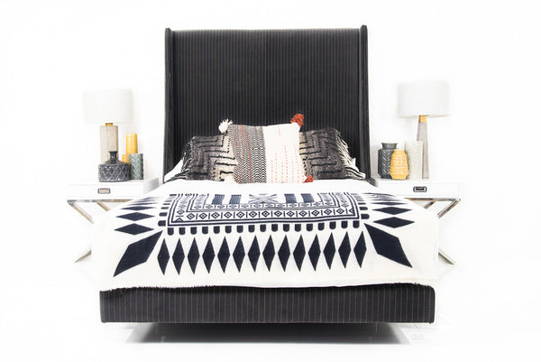 St. Tropez Bed in Charcoal Pinstripe