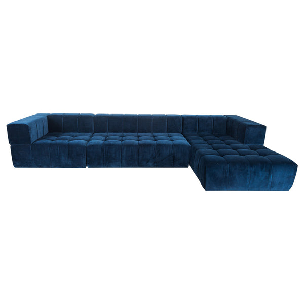 Delano Sectional with Chaise in Navy Velvet - ModShop1.com