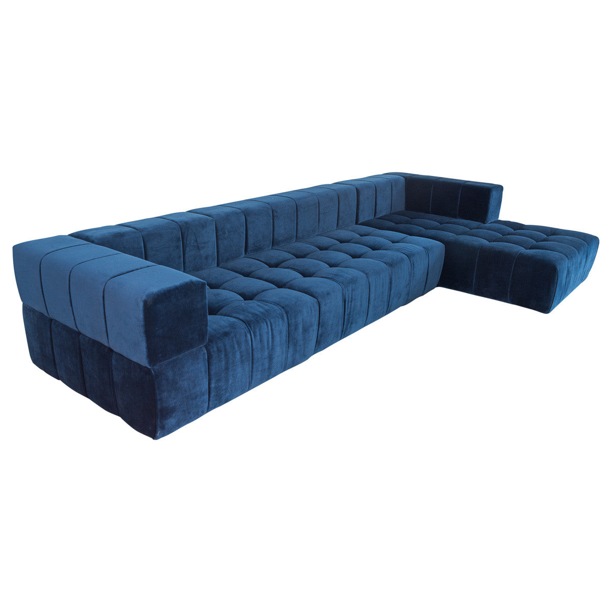 Delano Sectional With Chaise Tufted Chaise In Navy Modshop