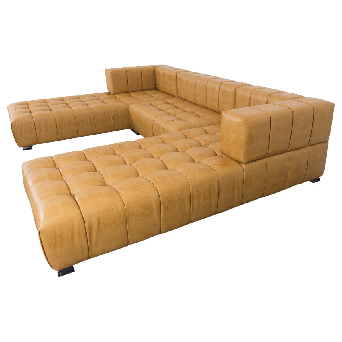 Delano Modular U-Sectional in Brown Faux Leather - ModShop1.com