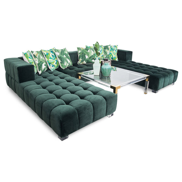 Delano Modular U-Sectional in Hunter Velvet - ModShop1.com