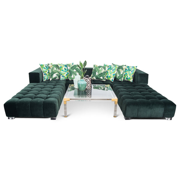 Delano Modular U-Sectional in Hunter Velvet