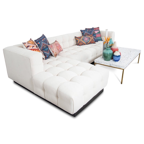 Delano Sectional w/ Chaise in White Linen