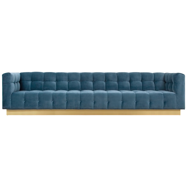 Delano Sofa in Velvet with Brushed Brass Toe Kick - ModShop1.com