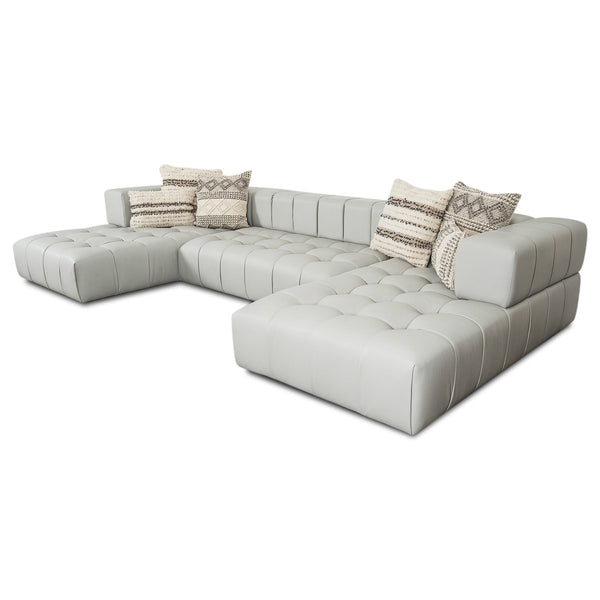 Delano Modular U-Sectional in Genuine Leather