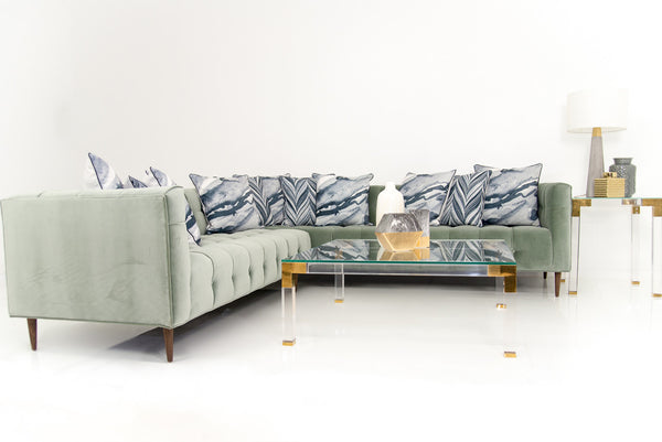 Delano Sectional in Gris Velvet
