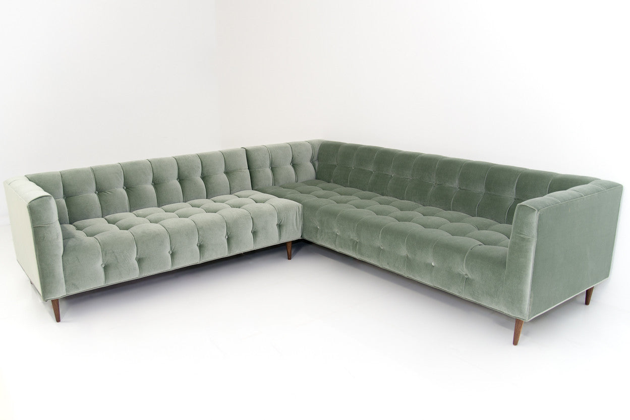 Delano Sectional In Gris Velvet Modshop