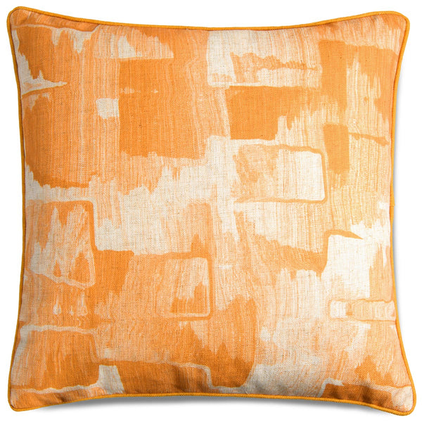 Denim Abstract Pillow in Mustard