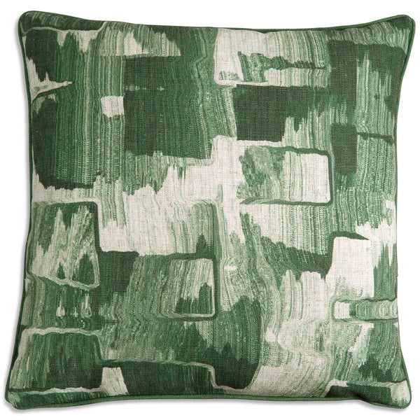 Denim Abstract Pillow in Green