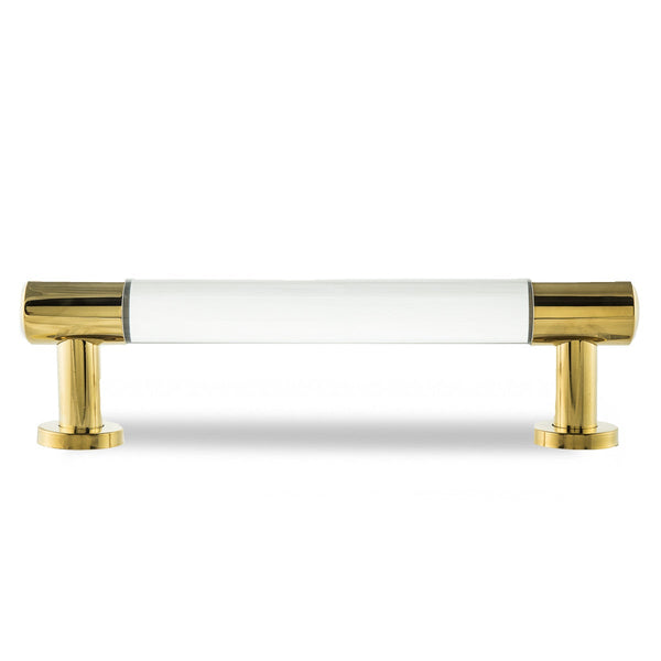 Double XL Lucite Pull with Brass Ends
