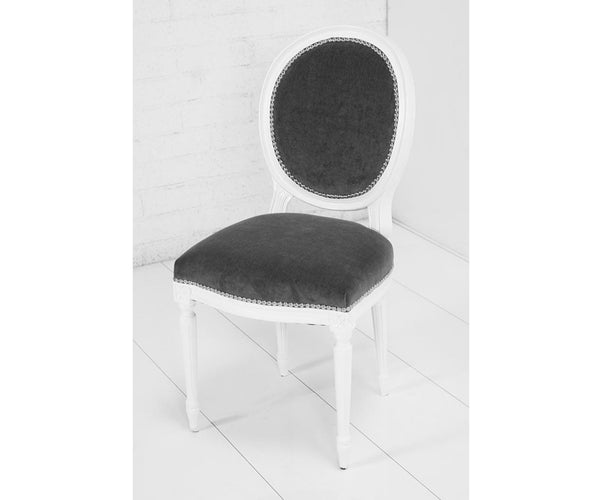 Louis Dining Chair in Charcoal Velvet