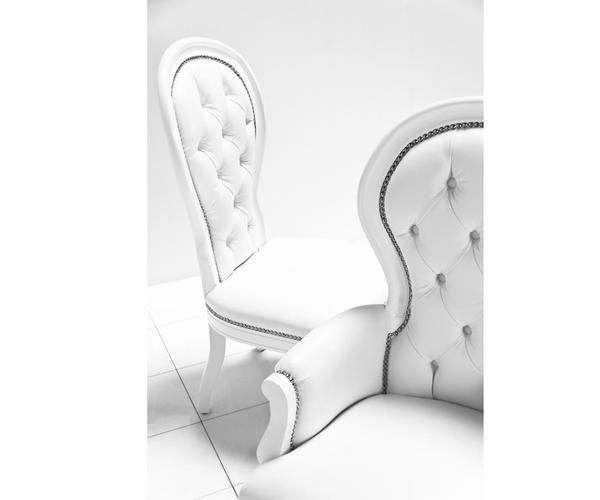 Custom Of Riviera Dining Chair In White Velvet