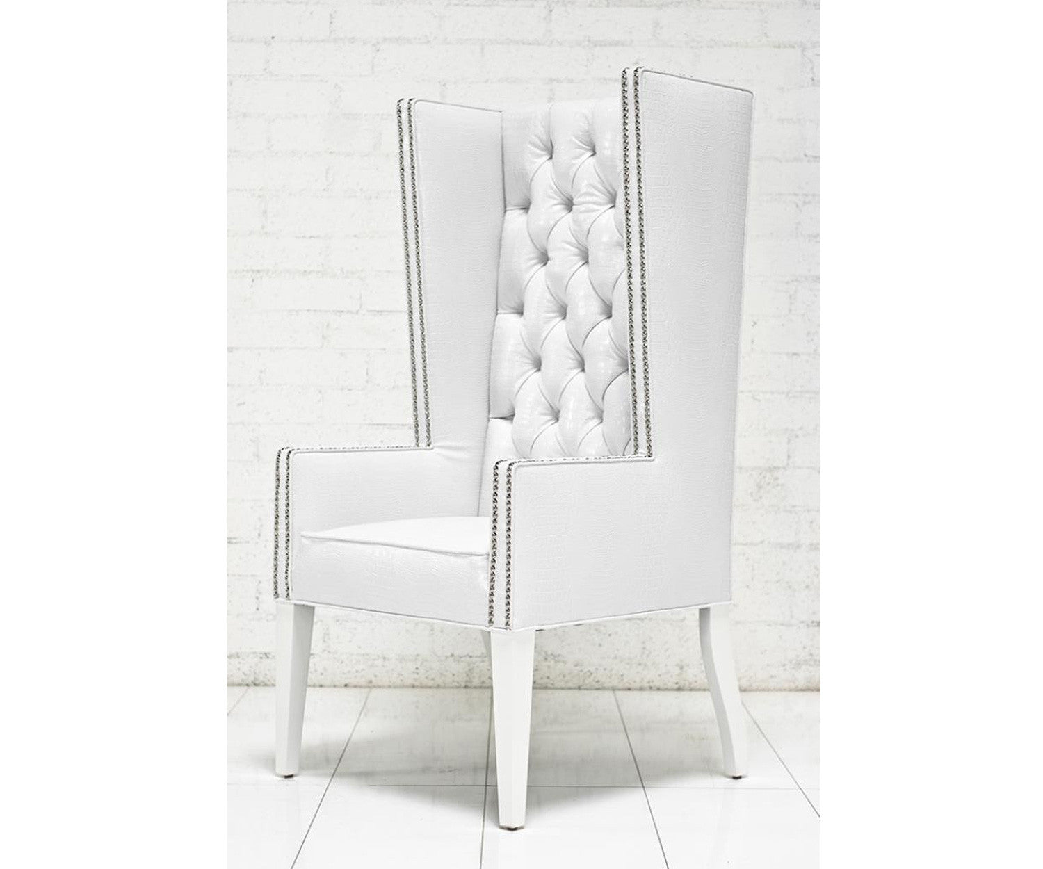 White leather wing chair - Ultra Tall Mod Wing Dining Chair In Faux White Croc Leather