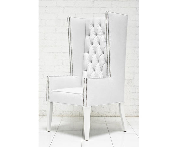 Ultra Tall Mod Wing Dining Chair in Faux White Croc Leather