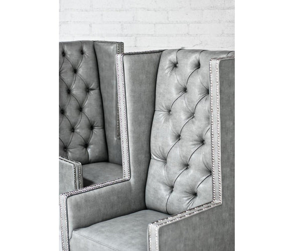 Ultra Tall Mod Wing Dining Chair in Faux Grey Leather