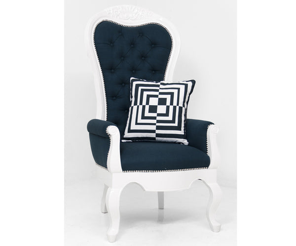 Riviera Wing Chair in Navy Linen