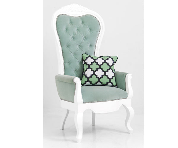 Riviera Wing Chair in Aqua Velvet