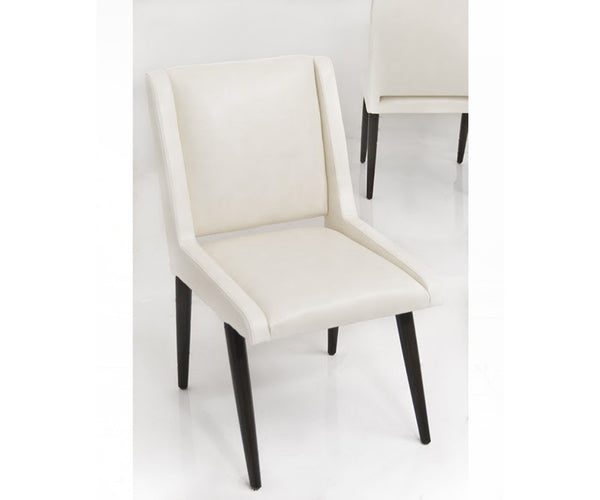 Mid Century Dining Chair in Cream Faux Leather
