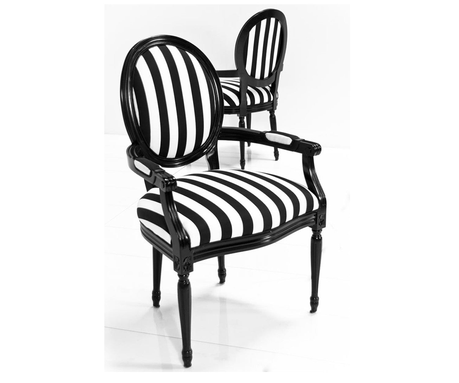 Louis Dining Arm Chair in Black & White Stripe Fabric - Louis Dining Arm Chair In Black & White Stripe Fabric - ModShop