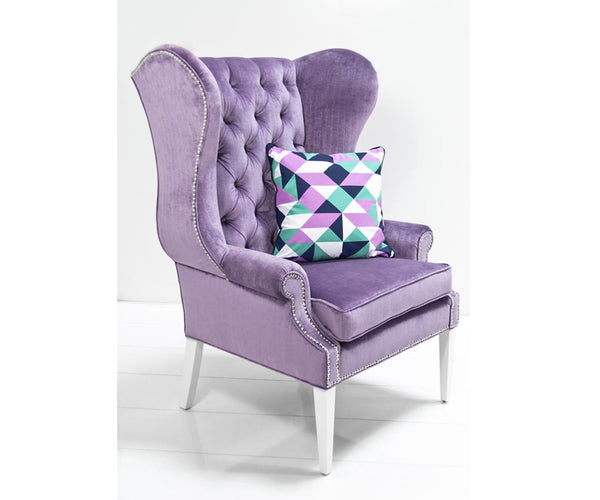 Swan Wing Chair in Lavender Velvet