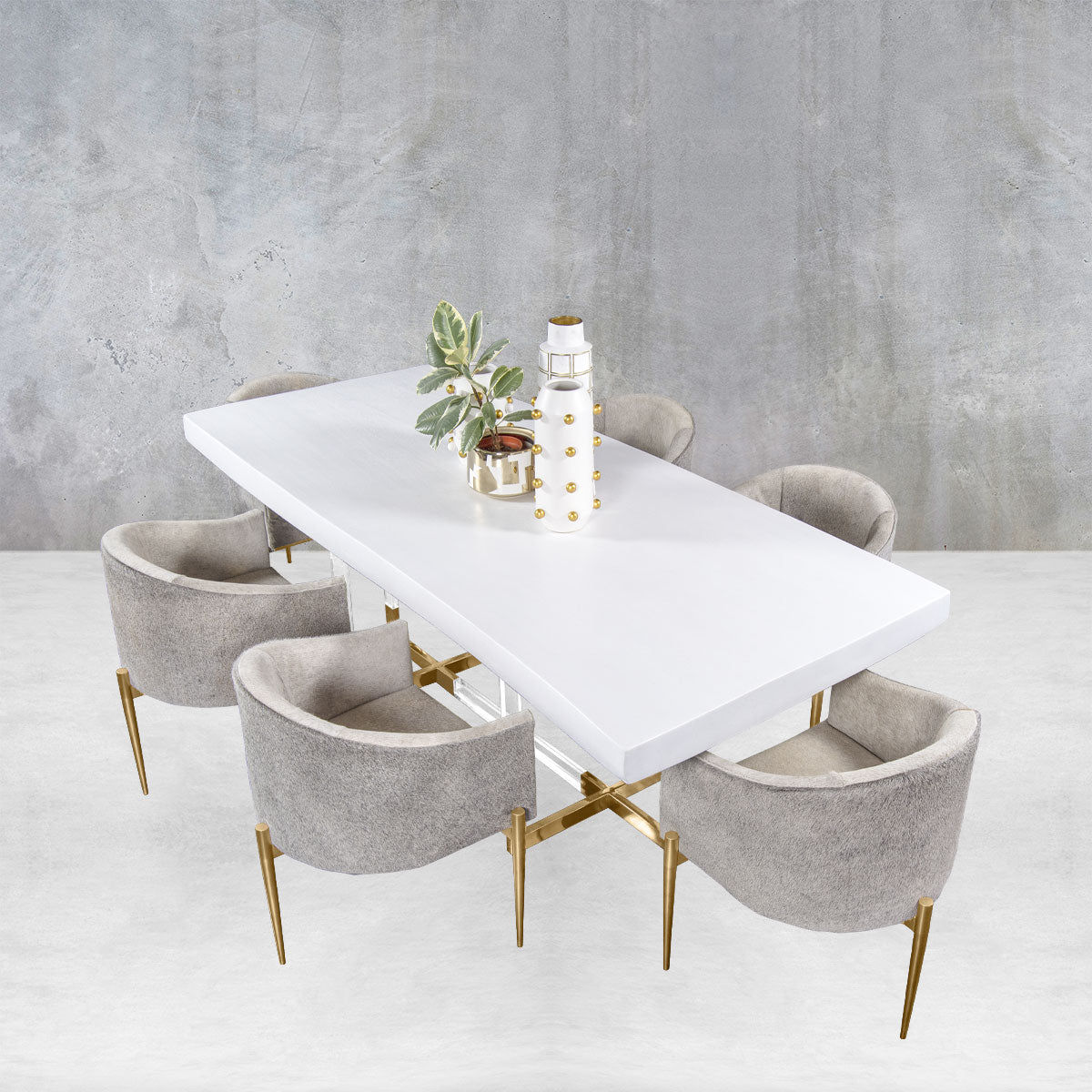 Eco Acacia Slab Dining Table in Matte White