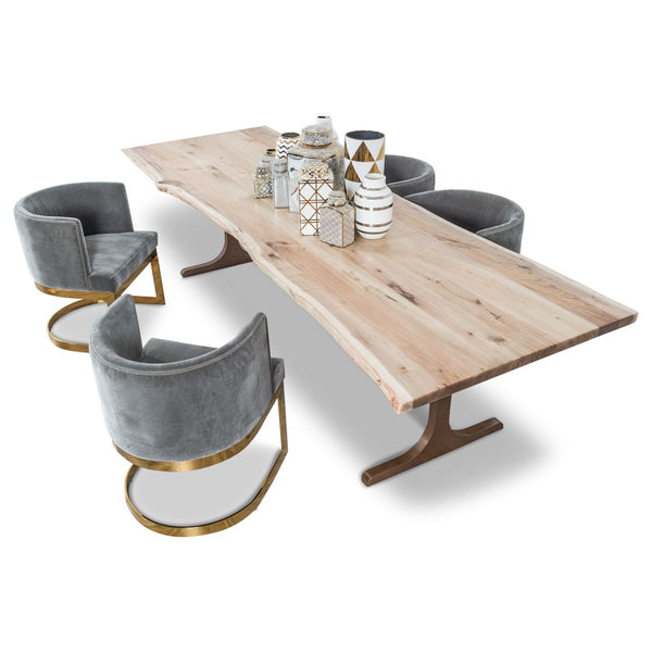 eco solid bleached walnut slab dining table