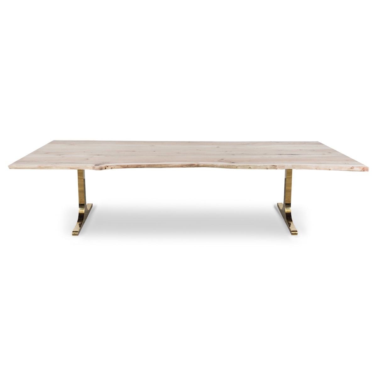 eco solid bleached walnut slab dining table modshop