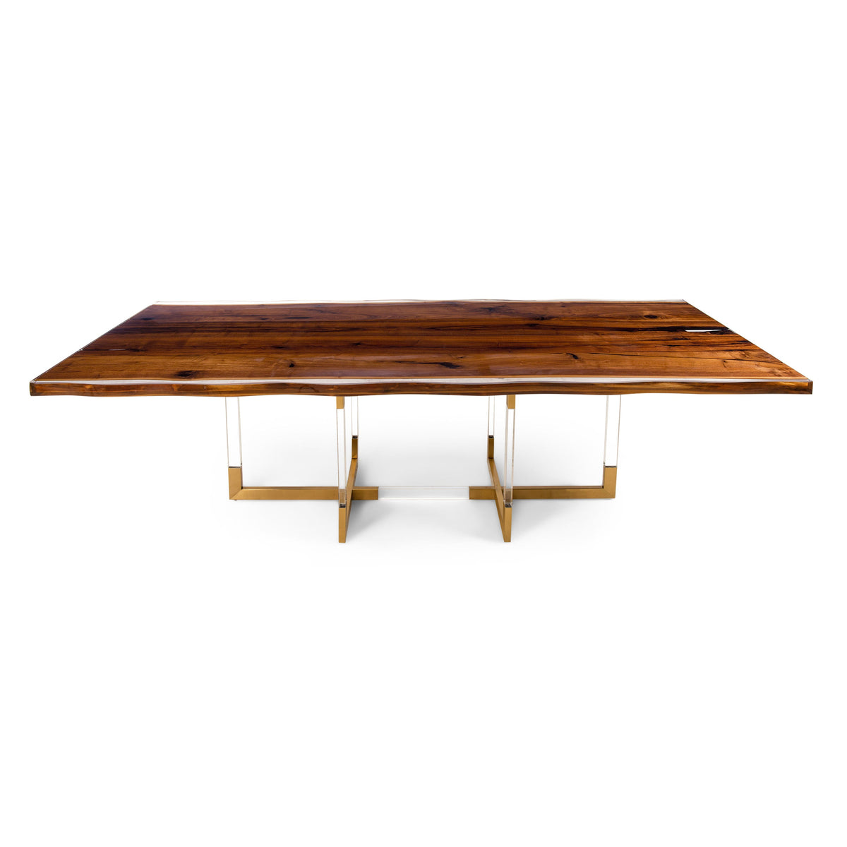 Live Edge Solid Walnut Slab Dining Table with Resin Finish