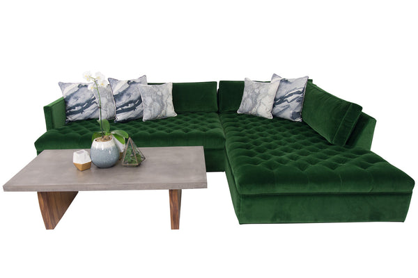 Upper East Side Sectional in Emerald Velvet