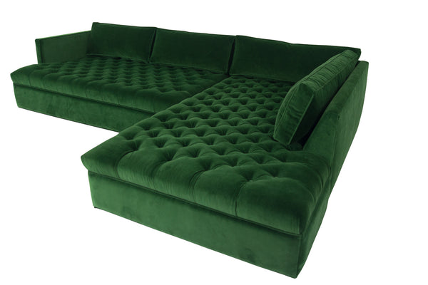 New Deep Inside Out Sectional in Emerald Velvet