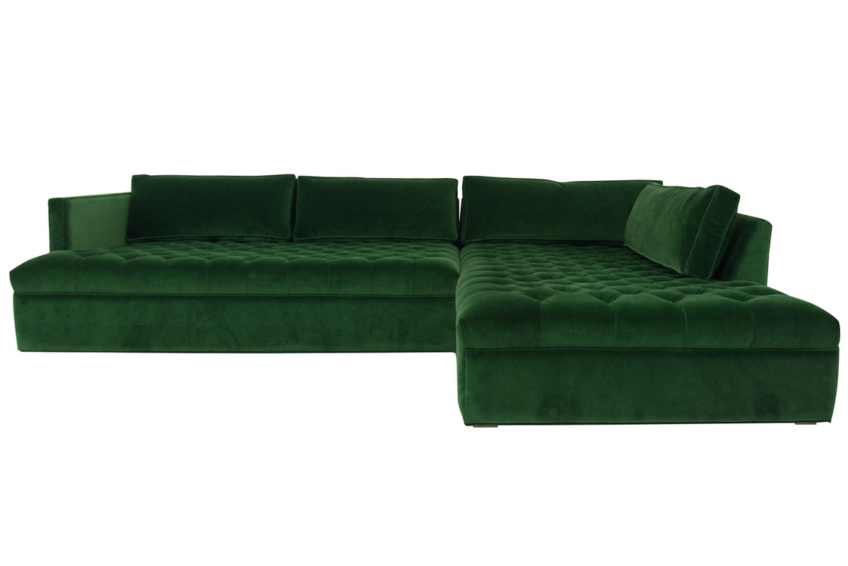 Upper East Side Sectional in Emerald Velvet - ModShop1.com