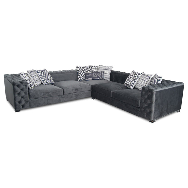 Fat Boy Sectional In Charcoal Velvet
