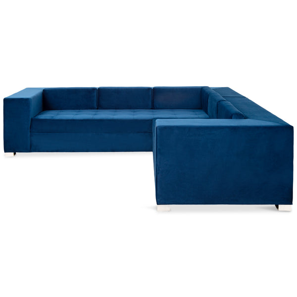 Fat Boy Sectional In Royale Cobalt Velvet - ModShop1.com