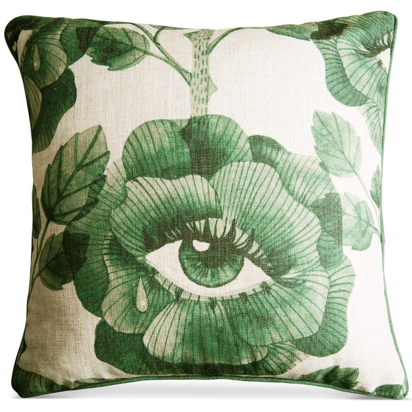 Floral Eyes Pillow in Hunter Green