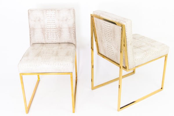 Goldfinger Dining Chair in Brass & Faux croc