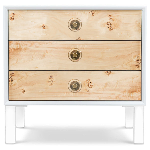 Goldfinger 3 Drawer Side Table in Matte White