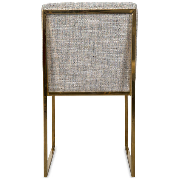 Goldfinger Dining Chair in Brass with Long Arm Tufting in Linen - ModShop1.com