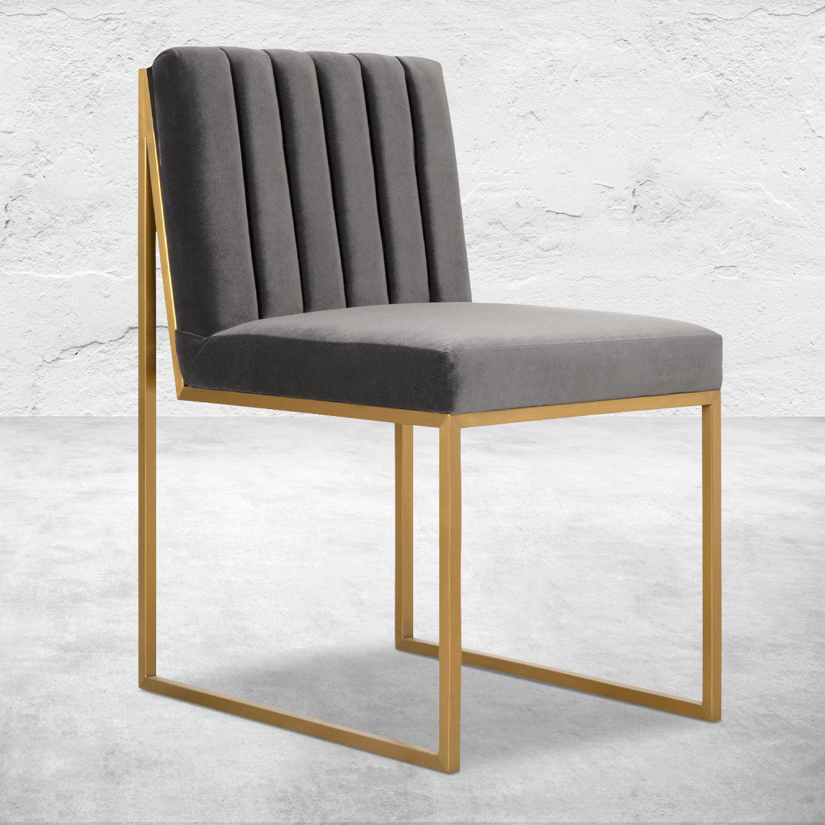 Goldfinger Dining Chair with Channel Tufting in Brushed Brass
