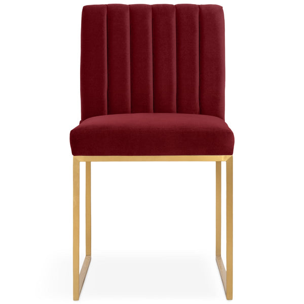 Goldfinger Dining Chair with Channel Tufting in Brushed Brass - ModShop1.com