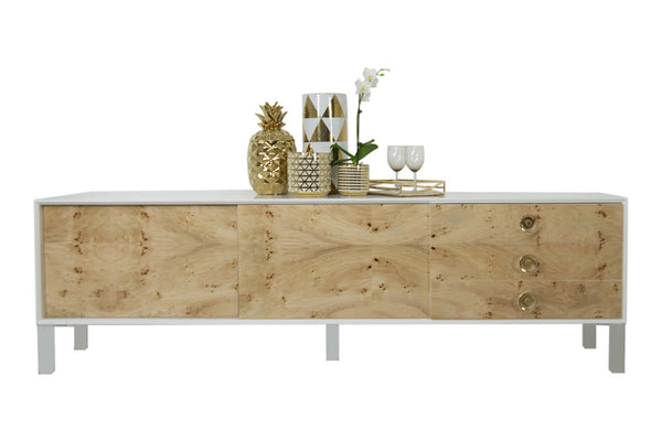 Goldfinger Petite Long Credenza in White