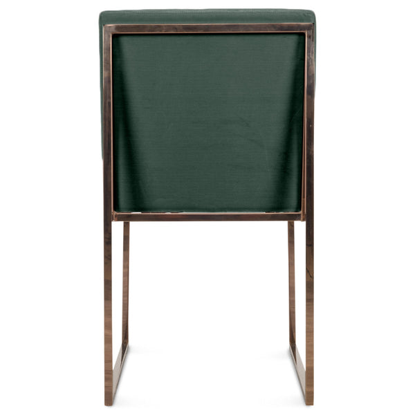 Goldfinger Dining Chair with Long Arm Tufting in Rose Gold