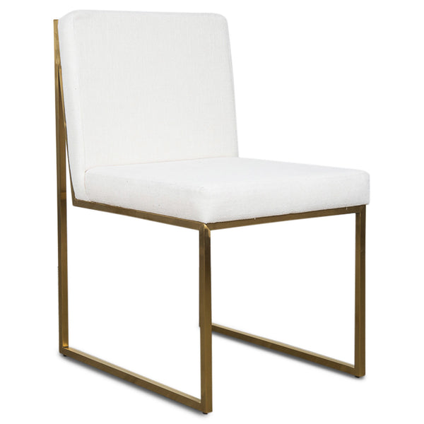 Goldfinger Dining Chair in White Linen - ModShop1.com