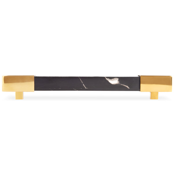 Square Portoro Marble with Brass Bar Pull - ModShop1.com