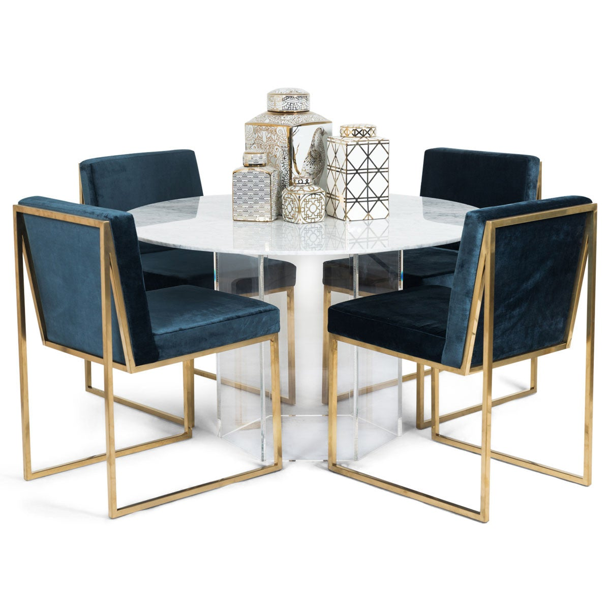 Iceland Dining Table With Hexagon Lucite Base ModShop - Hexagon marble coffee table